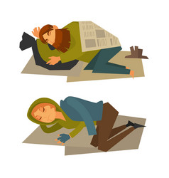 Homeless man and woman sleep on cardboard sheet vector