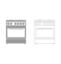 Kitchen stove set icon vector