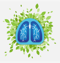 Lungs and leaves health concept vector