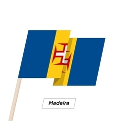 Madeira ribbon waving flag isolated on white vector