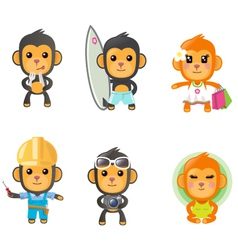 monkey activity set vector image