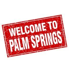Palm Springs red square grunge welcome to stamp vector image vector image