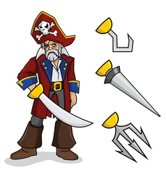 Pirate with Optional Hands vector image vector image
