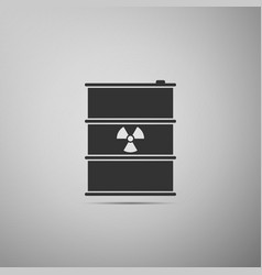 Radioactive waste in barrel flat icon on grey vector