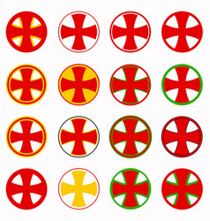 Red pharmacy cross set vector