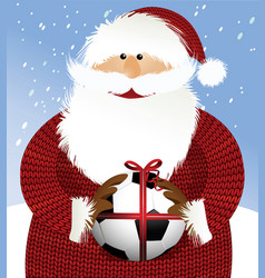santa claus with soccer ball vector image vector image