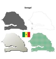 Senegal outline map set vector