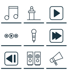 set of 9 music icons includes microphone vector image vector image