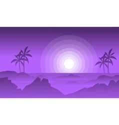 Silhouette of rock and fog vector