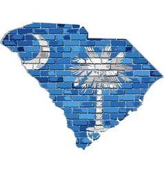 South carolina map on a brick wall vector