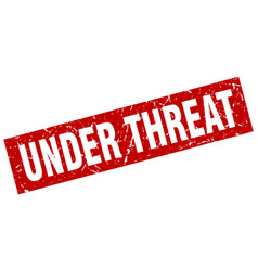 Square grunge red under threat stamp vector