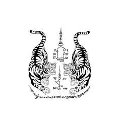 Thai tradition tattoo tiger vector