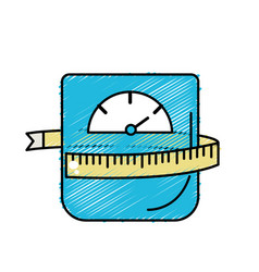 Weight machine with measuring to have healthy life vector