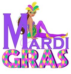 Mardi Gras Girl Design vector image