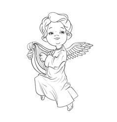 Toddler angel making music playing harp vector image