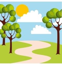 Cute field landscape icon vector