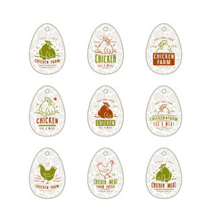 Chicken farm tag in the form of eggs vector
