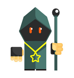 Cartoon mysterious gnome in a gray cape with vector