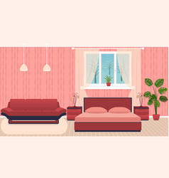 Bright colors bedroom interior with furniture and vector