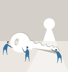 Businessman try to use key against opened wall an vector