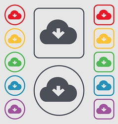 Download from cloud icon sign symbol on the round vector