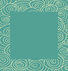 Waves curled hand-drawn pattern frame square vector