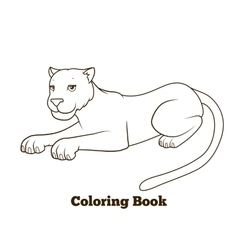 Panther cartoon coloring book vector