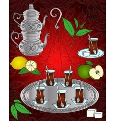 Line icon turkish tea set vector