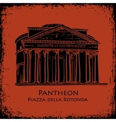 Black silhouette pantheon hand drawn vector