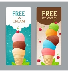 Ice cream coupon set vector