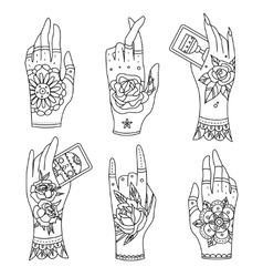 Old school tattoo hands vector