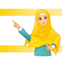 Muslim woman wearing yellow veil with pointing ar vector