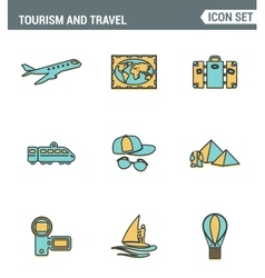 Icons line set premium quality of tourism travel vector
