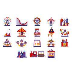 Amusement park icons set vector
