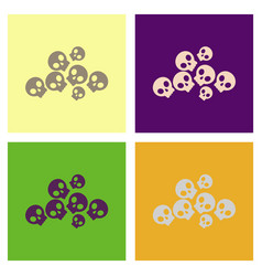 Assembly flat icons halloween skulls vector