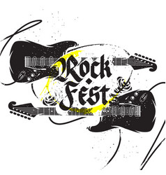 Black guitar print vector