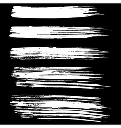 Black ink brush strokes isolated on black vector