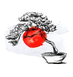 Bonsai and watercolor japanese flag vector