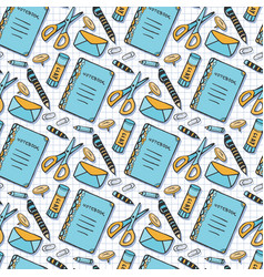 Color seamless pattern with school stationery vector