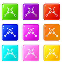 Crossed japanese daggers icons 9 set vector