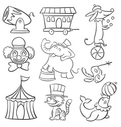 Cute animal circus of doodle style vector