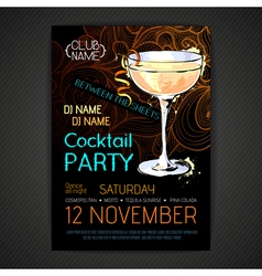 Disco cocktail party poster vector image vector image