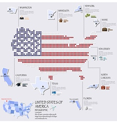 Dot And Flag Map Of America Infographic Design vector image