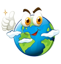 Earth with face and thumb up vector