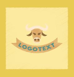 Flat shading style icon bull logo vector