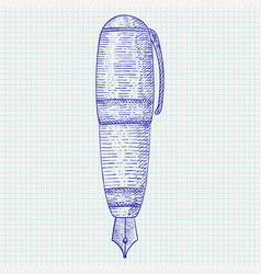 Fountain pen hand drawn sketch vector