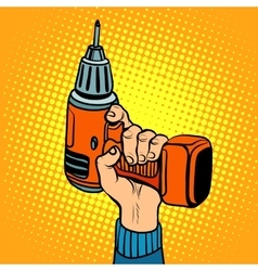 Hand with an electric drill vector