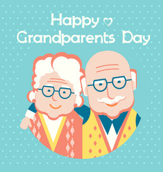 Happy grandparents day card with text flat style vector