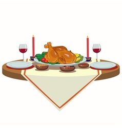 holiday table with turkey vector image