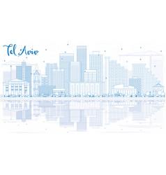 Outline tel aviv skyline with blue buildings and vector